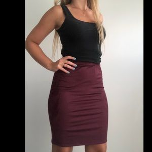 Velvet maroon pencil skirt with tags